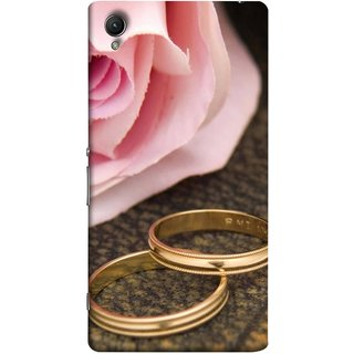 FUSON Designer Back Case Cover for Sony Xperia X :: Sony Xperia X Dual F5122 (Golden Rings On Pink Rose Petal With Pink Rose Flower )