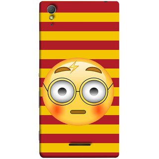 FUSON Designer Back Case Cover for Sony Xperia T3 (Sad Moon Power Icons Red And Yellow Strips )