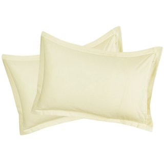 Just Linen 200 TC Premium Ecotone 100% Organic Cotton Solid, Golden Yellow Color, Pair of Regular Size Pillow Covers