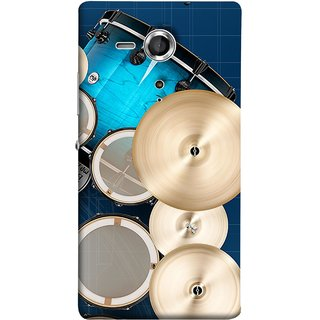 FUSON Designer Back Case Cover for Sony Xperia SP :: Sony Xperia SP HSPA C5302 :: Sony Xperia SP LTE C5303 :: Sony Xperia SP LTE C5306 (Drum Set Musical Instrument Four Piece Shell Pack)