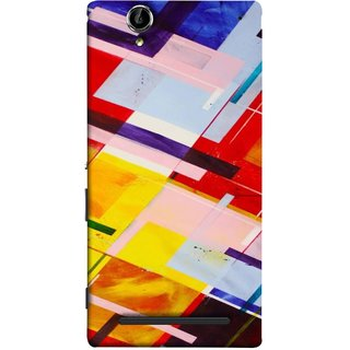 FUSON Designer Back Case Cover for Sony Xperia T2 Ultra :: Sony Xperia T2 Ultra Dual SIM D5322 :: Sony Xperia T2 Ultra XM50h (Bright Beautiful Colour Strips And Band Wave Triangle)
