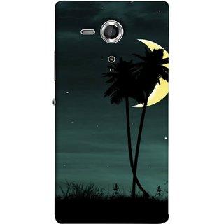 FUSON Designer Back Case Cover for Sony Xperia SP :: Sony Xperia SP HSPA C5302 :: Sony Xperia SP LTE C5303 :: Sony Xperia SP LTE C5306 (Coconut Trees Beautiful Moon Stars Light Evening )