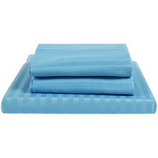 Just Linen 300 TC 100% Cotton Sateen Pencil Striped, Aqua Blue Color, King Size Fitted Sheet with Pillow Covers