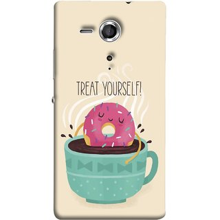 FUSON Designer Back Case Cover for Sony Xperia SP :: Sony Xperia SP HSPA C5302 :: Sony Xperia SP LTE C5303 :: Sony Xperia SP LTE C5306 (Donut Strawberry Flavor Sinking In Hot Chocolate)