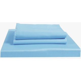 Just Linen 300 TC 100% Cotton Sateen Solid, Sky Blue Color, King Size Fitted Sheet with Pillow Covers