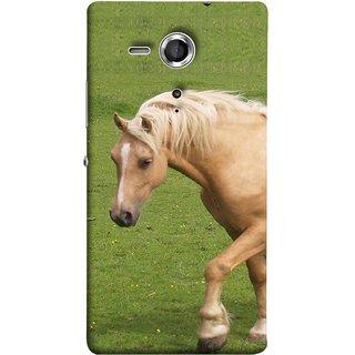 FUSON Designer Back Case Cover for Sony Xperia SP :: Sony Xperia SP HSPA C5302 :: Sony Xperia SP LTE C5303 :: Sony Xperia SP LTE C5306 (White Horse In The Park On The Green Grass)