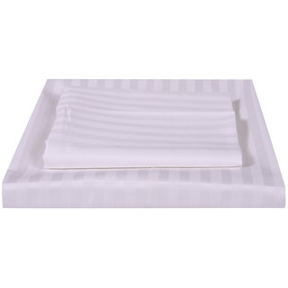 Just Linen 300 TC 100% Cotton Sateen Pencil Striped, White Color, King Size Fitted Sheet with Pillow Covers