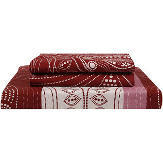 Just Linen 140 TC 100% Cotton Geometric Design, Multicolor, King Size Flat Bedsheet with Pillow Covers
