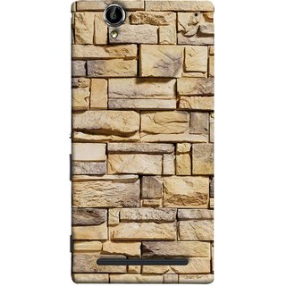FUSON Designer Back Case Cover for Sony Xperia T2 Ultra :: Sony Xperia T2 Ultra Dual SIM D5322 :: Sony Xperia T2 Ultra XM50h (Wall Of Colored Stone Used As A Background)