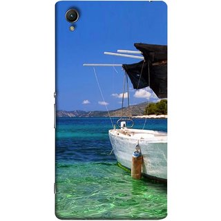 FUSON Designer Back Case Cover for Sony Xperia X :: Sony Xperia X Dual F5122 (Boat Floating In The Clear Water Island Enjoy Holidays)