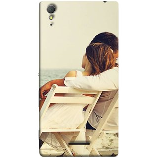 FUSON Designer Back Case Cover for Sony Xperia T3 (Beautiful Husband Wife Lovers Valentines Sitting Sea Shore)