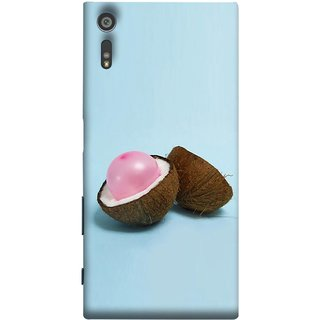 FUSON Designer Back Case Cover for Sony Xperia XR (Coconut Bubble Baloon White Coconut Brown Shell)