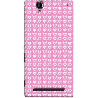 FUSON Designer Back Case Cover for Sony Xperia T2 Ultra :: Sony Xperia T2 Ultra Dual SIM D5322 :: Sony Xperia T2 Ultra XM50h (Valentine Pink Metallic Cool Peace Sign Symbol Pillow)