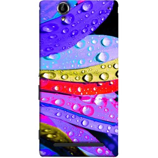 FUSON Designer Back Case Cover for Sony Xperia T2 Ultra :: Sony Xperia T2 Ultra Dual SIM D5322 :: Sony Xperia T2 Ultra XM50h (Macro Detail Of The Petals Pink Daisy Blue Red Yellow)