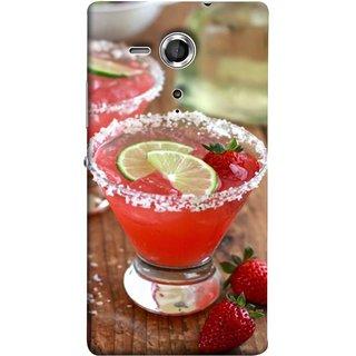 FUSON Designer Back Case Cover for Sony Xperia SP :: Sony Xperia SP HSPA C5302 :: Sony Xperia SP LTE C5303 :: Sony Xperia SP LTE C5306 (Wine Glass Lemon Slices Farm Fresh Strawberry )