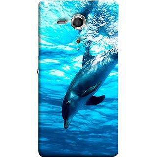 FUSON Designer Back Case Cover for Sony Xperia SP :: Sony Xperia SP HSPA C5302 :: Sony Xperia SP LTE C5303 :: Sony Xperia SP LTE C5306 (Dark Blue Deepblue Sea Ocean Baby Dolphin)