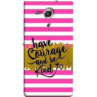 FUSON Designer Back Case Cover for Sony Xperia SP :: Sony Xperia SP HSPA C5302 :: Sony Xperia SP LTE C5303 :: Sony Xperia SP LTE C5306 (Pink And White Horizontal Strips Gold Paint Black Font)