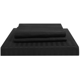 Just Linen 210 TC 100% Cotton Sateen Self Striped, Black Color, King Size Fitted Sheet with Pillow Covers