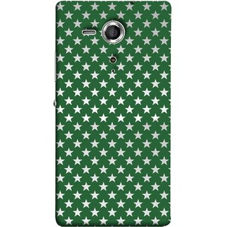 FUSON Designer Back Case Cover for Sony Xperia SP :: Sony Xperia SP HSPA C5302 :: Sony Xperia SP LTE C5303 :: Sony Xperia SP LTE C5306 (Small Lot Of Stars Green Back Shining Glossy)