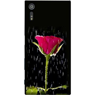 FUSON Designer Back Case Cover for Sony Xperia XR (Red Rose Love Pink Water Raining Flowers )