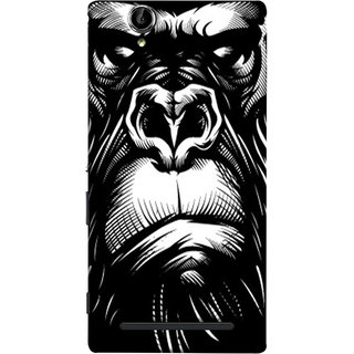 FUSON Designer Back Case Cover for Sony Xperia T2 Ultra :: Sony Xperia T2 Ultra Dual SIM D5322 :: Sony Xperia T2 Ultra XM50h (Animal Background Open Ears Black Hairs Jungle Nose)