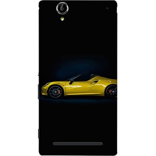 FUSON Designer Back Case Cover for Sony Xperia T2 Ultra :: Sony Xperia T2 Ultra Dual SIM D5322 :: Sony Xperia T2 Ultra XM50h (Yellow 918 Spyder Top View Expensive Cars)