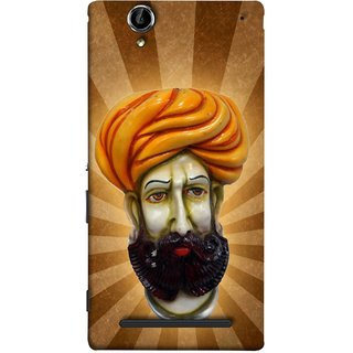 FUSON Designer Back Case Cover for Sony Xperia T2 Ultra :: Sony Xperia T2 Ultra Dual SIM D5322 :: Sony Xperia T2 Ultra XM50h (Vector Illustration Turban Headdress And Mustache Isolated)