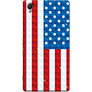 FUSON Designer Back Case Cover for Sony Xperia X :: Sony Xperia X Dual F5122 (United Stated Of America Flag Embroidered Stars)