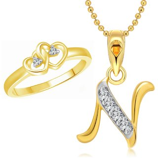 Vighnaharta Dual Heart Ring with Initial ''N'' Letter Pendant Gold and Rhodium Plated Jewellery Combo set