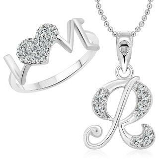 buy vighnaharta love ring with initial r alphabet pendant