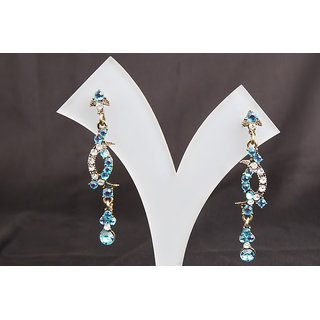 Curved Sky Blue Stone Light Weight Long Earring (AJER028(H))