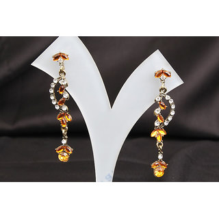 Kaan Dark Orange Stone Light Weight Long Earring (AJER029(G))