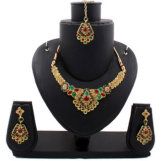 Gold Traditional Necklace In Maroon And Green Stones (AJN-SJ-102)