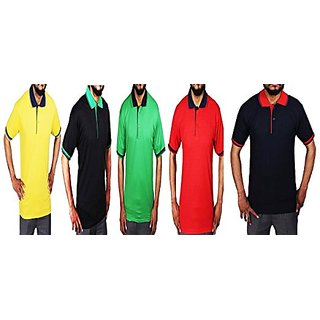 2eecfaa7dad Buy Set of 5 Polo Neck T-shirts for Men by Rv Creations Online - Get 60% Off