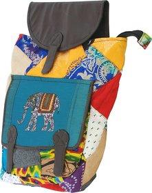 Indha Craft Elephant Print Patchwork Backpack Bag.