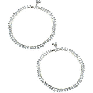 Anuradha Art Silver Tone Wonderful Classy Look with This Anklets//Payal for Women//Girls
