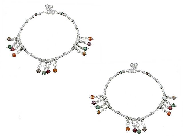 Anuradha Art Silver Colour Very Classy Designer Anklet//Payal for Women//Girls