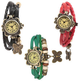 Set of 3 Fancy Vintage Black, Green  Red Leather Bracelet Butterfly Watch for Girls  Women - Combo Offer