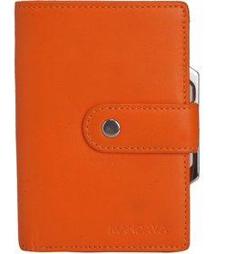 Mandava 100 genuine nappa leather orange ladies wallet