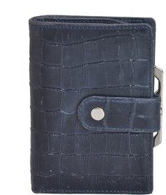 Mandava 100 genuine leather croco printed dark blue ladies wallet