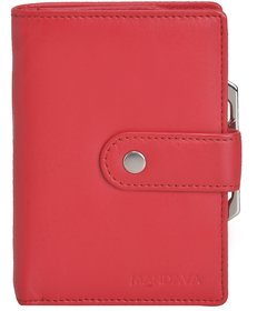 Mandava 100 genuine nappa leather red ladies wallet