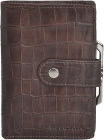 Mandava 100 genuine leather brown croco printed ladies wallet