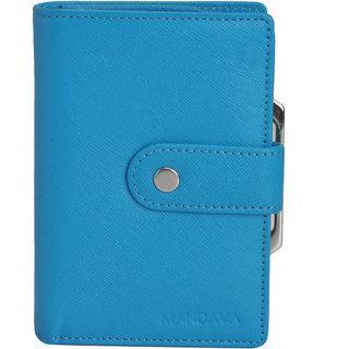 Mandava 100 genuine safiano leather turquoise ladies wallet
