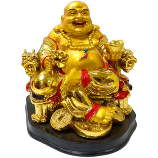 only4you bFeng Shui Home Decoration Laughing Buddha Sitting on Wealth Chair Showpiece (Polyresin, Gold)