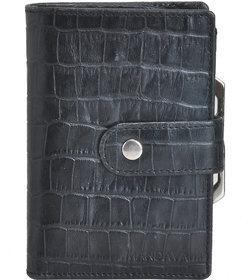 Mandava 100 genuine leather black croco printed ladies wallet