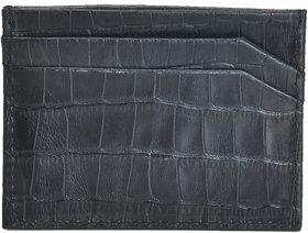 Mandava Genuine Leather Croco Printed Black Unisex Card Holder