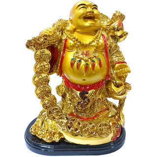 only4you Feng Shui Wealth Coin Bag Happy Laughing Maitreya Buddha Statue (Polyresin, Gold)