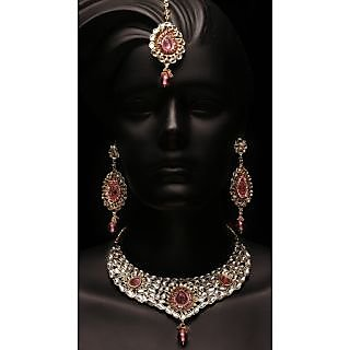 Sanskaar Traditional Bridal Set With Pink Stone (AJN-SJ-21315)