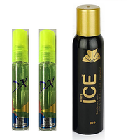 Deo Tripple Dhamaka - Two DX Deo (10 ml each) + One Ice Deo (75 ml) (Set of 4)