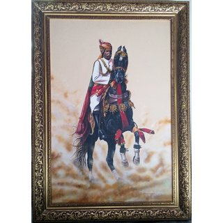 Buy Marwari Horse Rider Portrait With Acrylic On Canvas Online Get